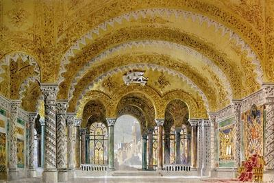 Set Design by Giovanni Zuccarelli Depicting the Great Hall of the Castle for the Third Act