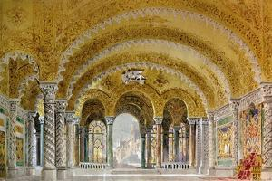 Set Design by Giovanni Zuccarelli Depicting the Great Hall of the Castle for the Third Act by Giuseppe Verdi