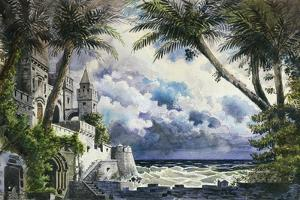 Set Design by Giovanni Zuccarelli Depicting the Outside of the Castle for the First Act by Giuseppe Verdi