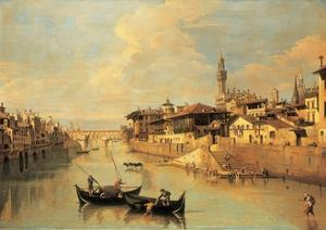 The Ponte Vecchio, Florence by Giuseppe Zocchi