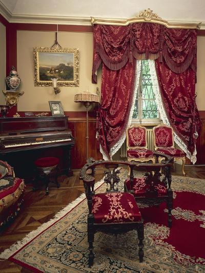 Giuseppina Strepponi's Piano in Corner of Red Room at Villa Verdi--Giclee Print