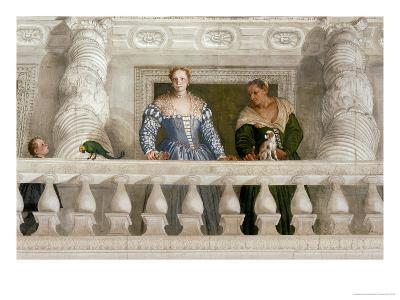 Giustiniani Barbaro and His Nurse with a Puppy Looking Out from a Mock Balcony-Paolo Veronese-Giclee Print