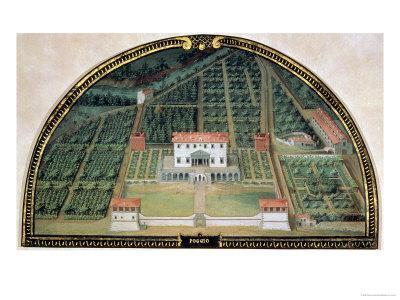 Villa Poggio a Caiano from a Series of Lunettes Depicting Views of the Medici Villas, 1599