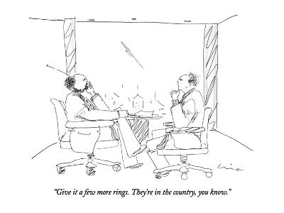 """""""Give it a few more rings. They're in the country, you know."""" - New Yorker Cartoon-Richard Cline-Premium Giclee Print"""