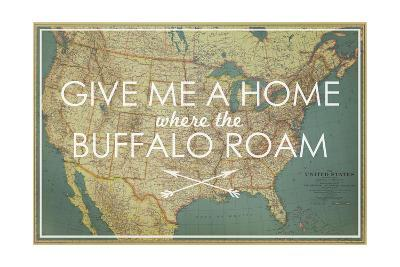 Give me a Home where the Buffalo Roam - 1933 United States of America Map-National Geographic Maps-Giclee Print