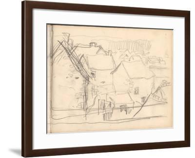Giverny under Snow (Pencil on Paper)-Claude Monet-Framed Giclee Print