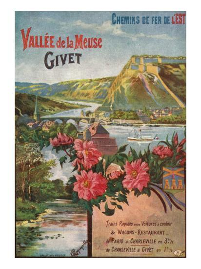 Givet, France - Scenic View of the Meuse River and Valley, Eastern Railways Postcard, c.1920-Lantern Press-Art Print