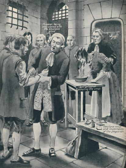 'Giving Prisoners the Smallpox in Gaol', late 18th century, (c1934)-Unknown-Giclee Print