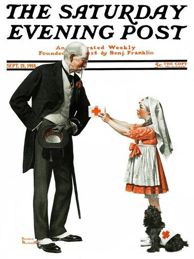 """""""Giving to Red Cross"""" Saturday Evening Post Cover, September 21,1918-Norman Rockwell-Giclee Print"""