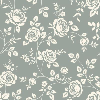 Vector Seamless Pattern with Flowers. Vintage Background with Blooming Roses. Floral Wallpaper. Whi