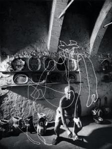"Artist Pablo Picasso ""Painting"" with Light at the Madoura Pottery by Gjon Mili"