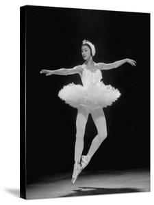 Ballerina Margot Fonteyn in White Costume Dancing Alone on Stage by Gjon Mili