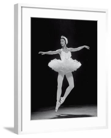 Ballerina Margot Fonteyn in White Costume Dancing Alone on Stage