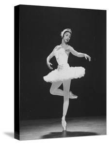 Ballerina Margot Fonteyn, of the Sadler Wells Company, Dancing Alone on Stage by Gjon Mili