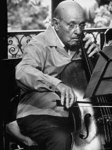 Cellist Pablo Casals Rehearsing at His Home in Prades by Gjon Mili