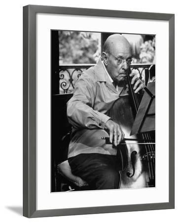 Cellist Pablo Casals Rehearsing at His Home in Prades