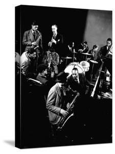 Count Basie at Piano, Lester Young on Sax, Dizzy Gellespie, Mezzrow on Clarinet, Gjon Mili's Studio by Gjon Mili