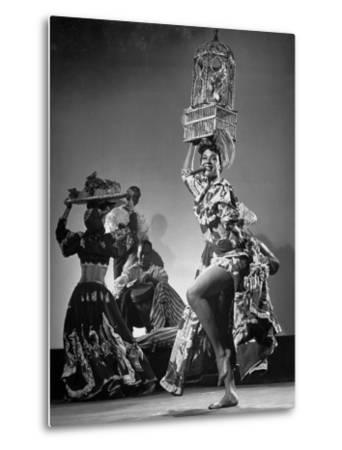 Dancer Katherine Dunham Dancing Barefoot with Cigar in Her Mouth and Birdcage Balanced on Her Head