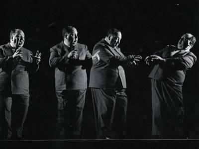 """Director Alfred Hitchcock Demonstrating Various Actions During Filming of """"Shadow of a Doubt"""""""