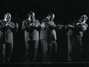 """Director Alfred Hitchcock Demonstrating Various Actions During Filming of """"Shadow of a Doubt"""" by Gjon Mili"""