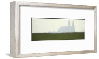 Distant Misty View of Chartres Cathedral Rising over Green Field