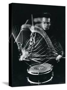 Drummer Gene Krupa Playing Drum at Gjon Mili's Studio by Gjon Mili