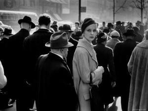 Elise Daniels, Young Model, Standing on Crowded New York City Street by Gjon Mili