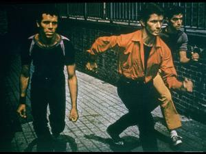 George Chakiris as Bernardo Leads Two Others Into Turf of Rival Gang in West Side Story by Gjon Mili