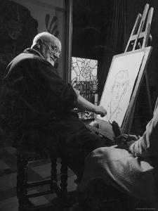 Henri Matisse at His Easel, Drawing from Live Model by Gjon Mili