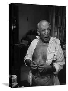 Informal Portrait of Artist Pablo Picasso at Notre Dame de Vie, His Home in Mougins by Gjon Mili