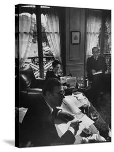 Jean Paul Sartre, Simone de Beauvoir and Saul Steinberg at Sartre's Home in Paris by Gjon Mili