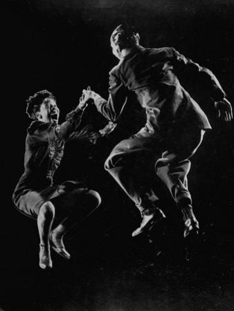 Leon James and Willa Mae Ricker Demonstrating a Step of the Lindy Hop. No Caps