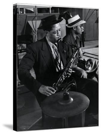 Lester Young and Trombonist at Recording Session for Jammin' the Blues