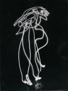 Light Drawing of Figure by Pablo Picasso Using Flashlight by Gjon Mili