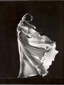 Model Posing in Billowing Light Colored Sheer Nightgown and Peignoir by Gjon Mili