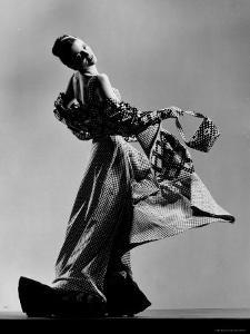 Model Wearing Checkered Evening Dress with Matching Evening Bag, Gloves and Stole by Gjon Mili