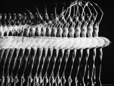 Multiple Exposure of American Ballet Theater Ballerina Alicia Alonso Executing a Pas de Bourree
