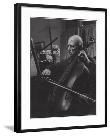 Pablo Casals Giving an Informal Recital on His Cello at His Home