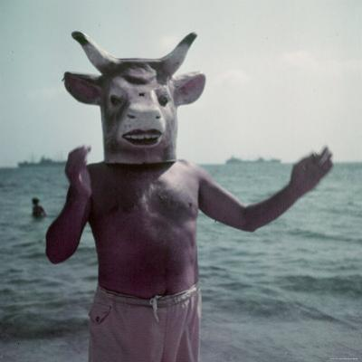 Pablo Picasso Wearing a Cow's Head Mask on Beach at Golfe Juan Near Vallauris
