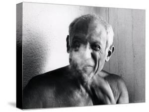 Portrait of Artist Pablo Picasso, Bare Chested and Smiling by Gjon Mili