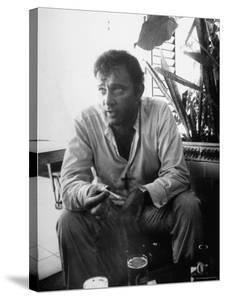 Richard Burton Relaxing in Cantina on Location by Gjon Mili
