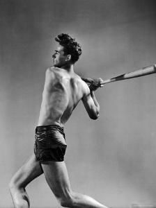 Ted Williams Showing Off His Powerful Swing by Gjon Mili