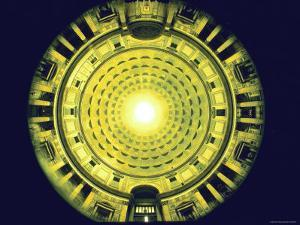 Under Dome of the Pantheon Looking Toward Exit at Bottom, Main Altar at Top by Gjon Mili