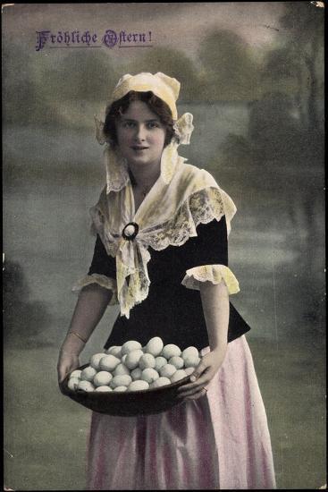 Gl?ckwunsch, Geburtstag, Frau in Kleid, Eier Im Korb--Giclee Print