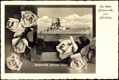 Gl?ckwunsch Geburtstag, Panzerschiff Admiral Scheer--Giclee Print