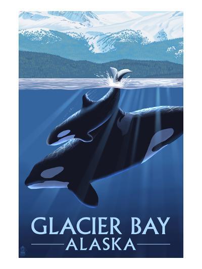 Glacier Bay, Alaska - Orca and Calf-Lantern Press-Art Print