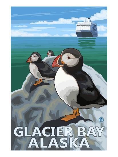 Glacier Bay, Alaska, Puffins-Lantern Press-Art Print