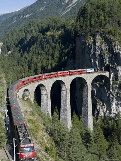 Glacier Express and Landwasser Viaduct, Filisur, Graubunden, Switzerland-Doug Pearson-Photographic Print