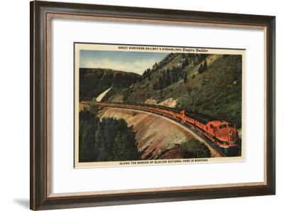Glacier National Park, Montana - Empire Builder Train-Lantern Press-Framed Art Print