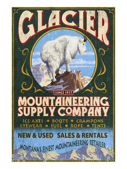 Glacier National Park, Montana - Mountain Goat-Lantern Press-Art Print
